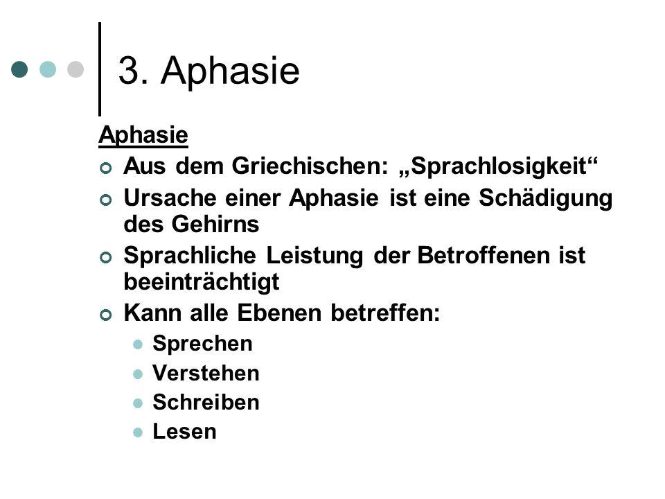 """3. Aphasie Aphasie Aus dem Griechischen: """"Sprachlosigkeit"""
