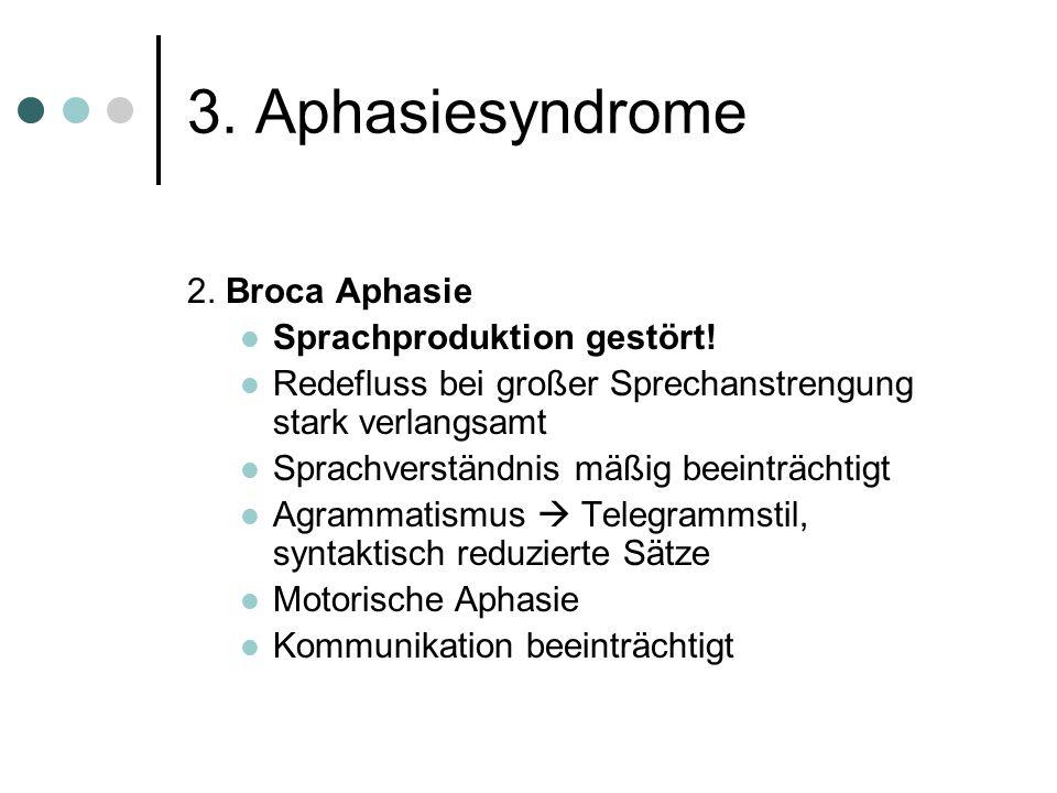 3. Aphasiesyndrome 2. Broca Aphasie Sprachproduktion gestört!