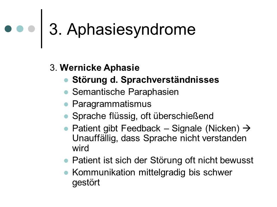 3. Aphasiesyndrome 3. Wernicke Aphasie Störung d. Sprachverständnisses