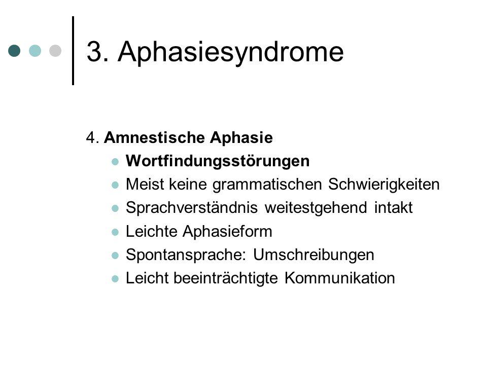 3. Aphasiesyndrome 4. Amnestische Aphasie Wortfindungsstörungen