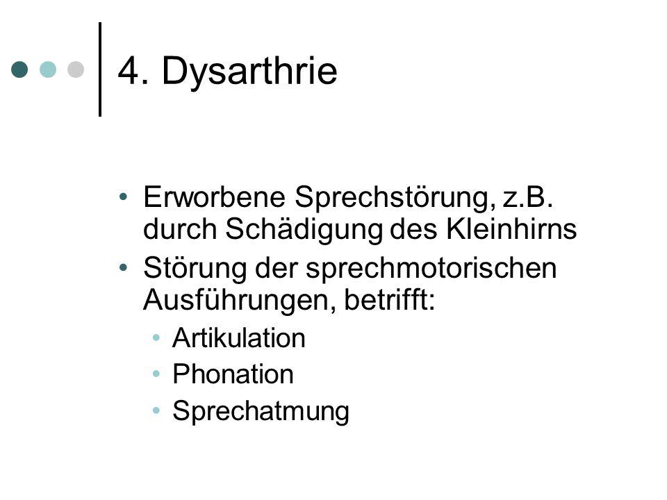 4. Dysarthrie Erworbene Sprechstörung, z.B. durch Schädigung des Kleinhirns. Störung der sprechmotorischen Ausführungen, betrifft: