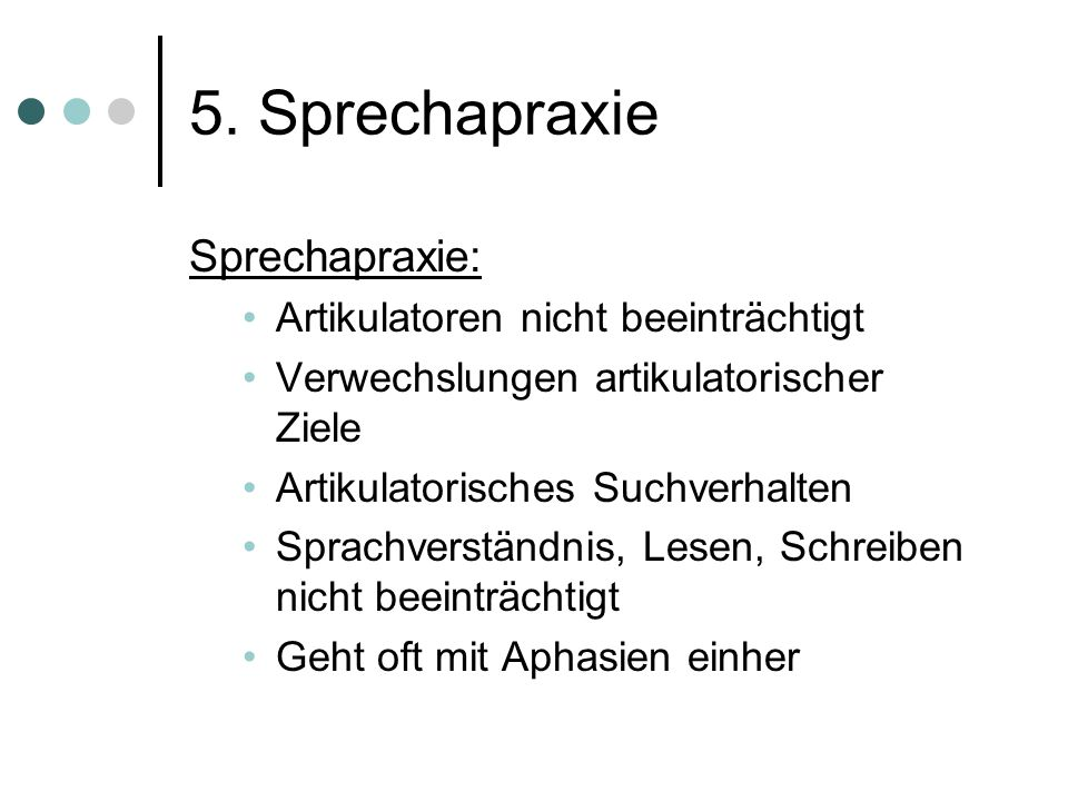 5. Sprechapraxie Sprechapraxie: Artikulatoren nicht beeinträchtigt