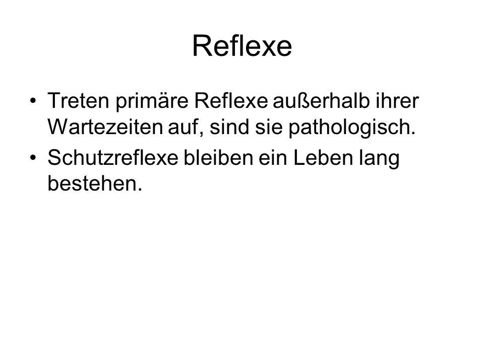 Reflexe Treten primäre Reflexe außerhalb ihrer Wartezeiten auf, sind sie pathologisch.