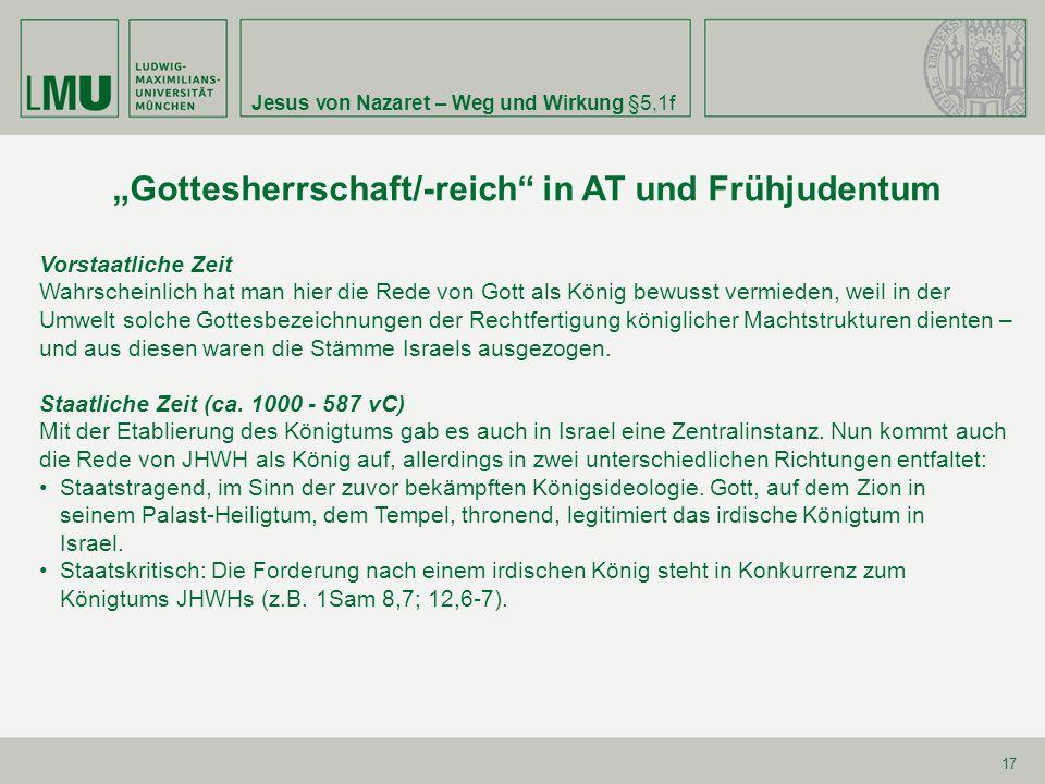 """""""Gottesherrschaft/-reich in AT und Frühjudentum"""