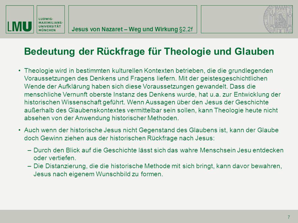 Bedeutung der Rückfrage für Theologie und Glauben