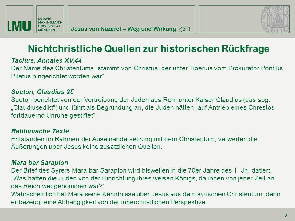 Nichtchristliche Quellen zur historischen Rückfrage
