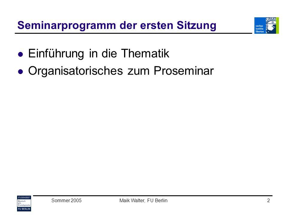 Seminarprogramm der ersten Sitzung