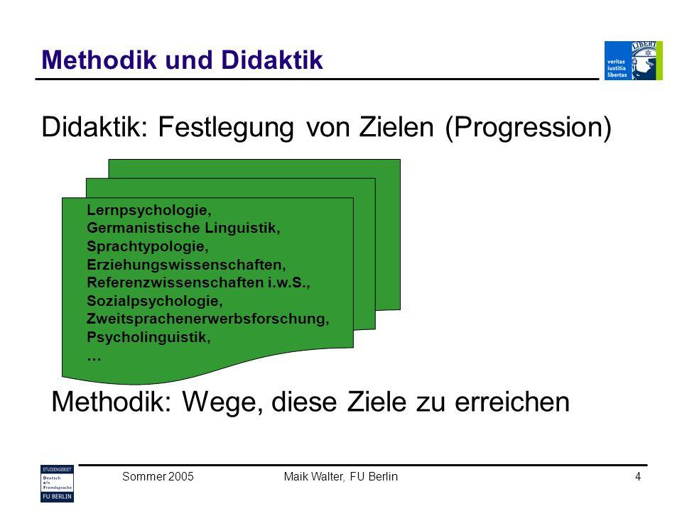Didaktik: Festlegung von Zielen (Progression)