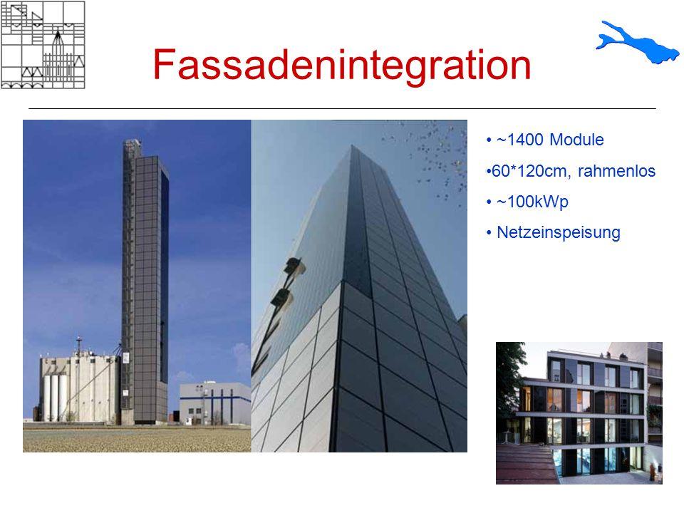Fassadenintegration ~1400 Module 60*120cm, rahmenlos ~100kWp
