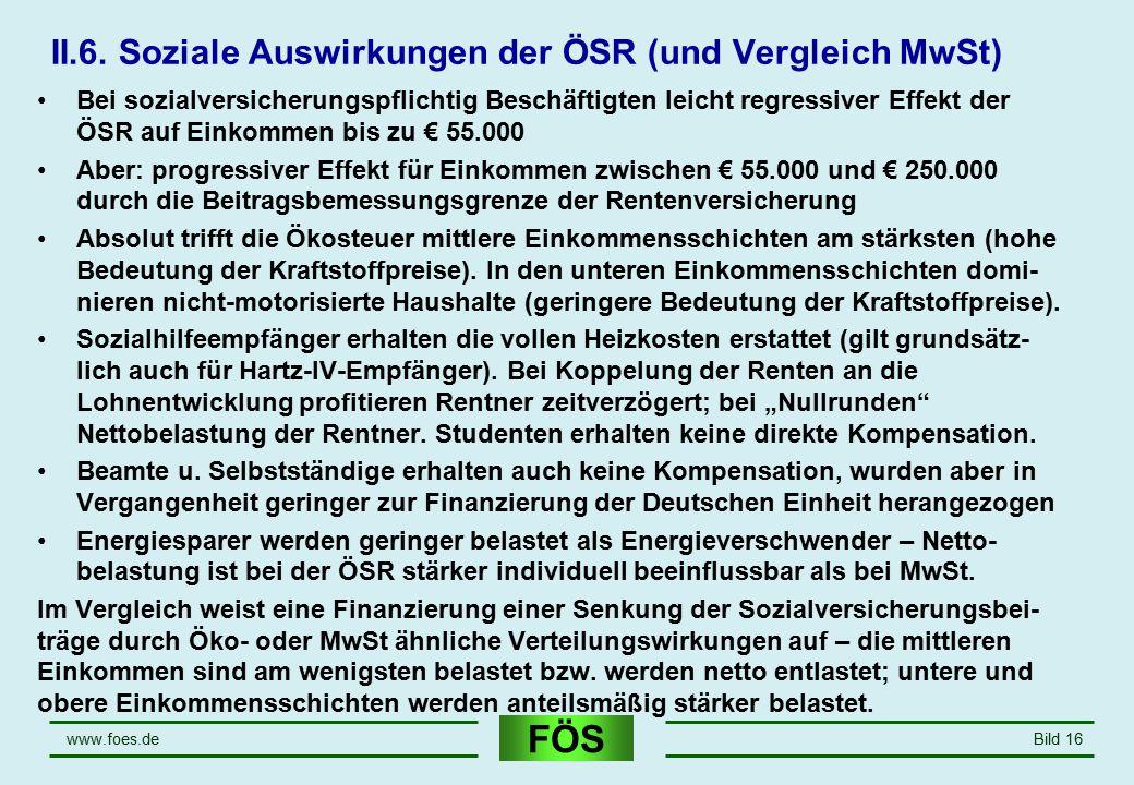 II.6. Soziale Auswirkungen der ÖSR (und Vergleich MwSt)