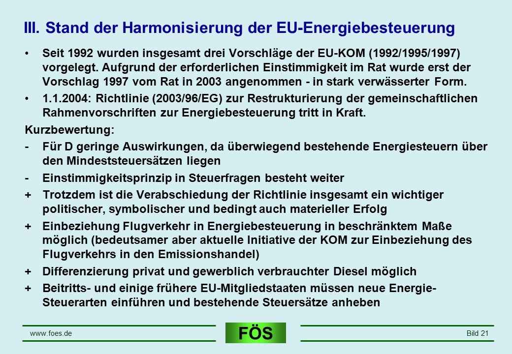 III. Stand der Harmonisierung der EU-Energiebesteuerung