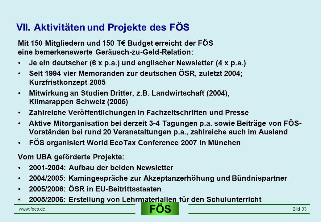 VII. Aktivitäten und Projekte des FÖS