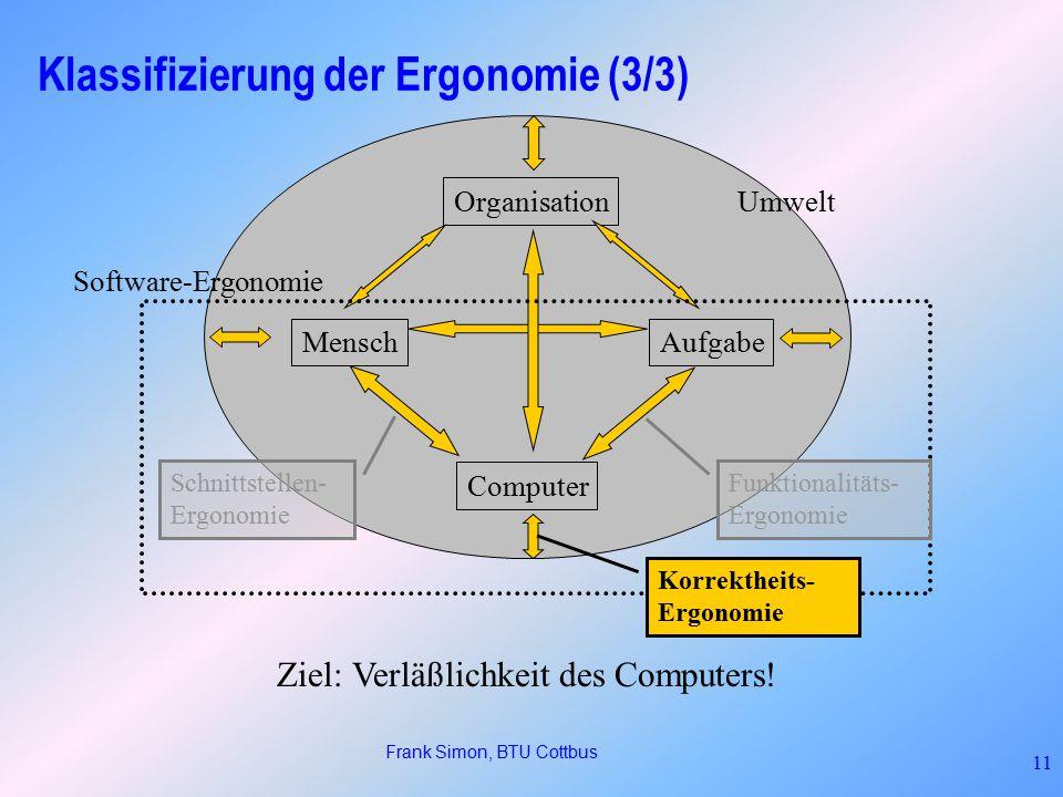 Klassifizierung der Ergonomie (3/3)