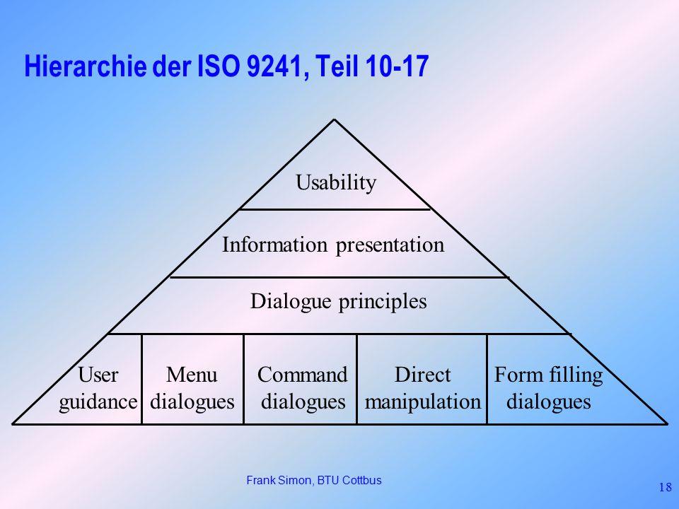 Hierarchie der ISO 9241, Teil 10-17