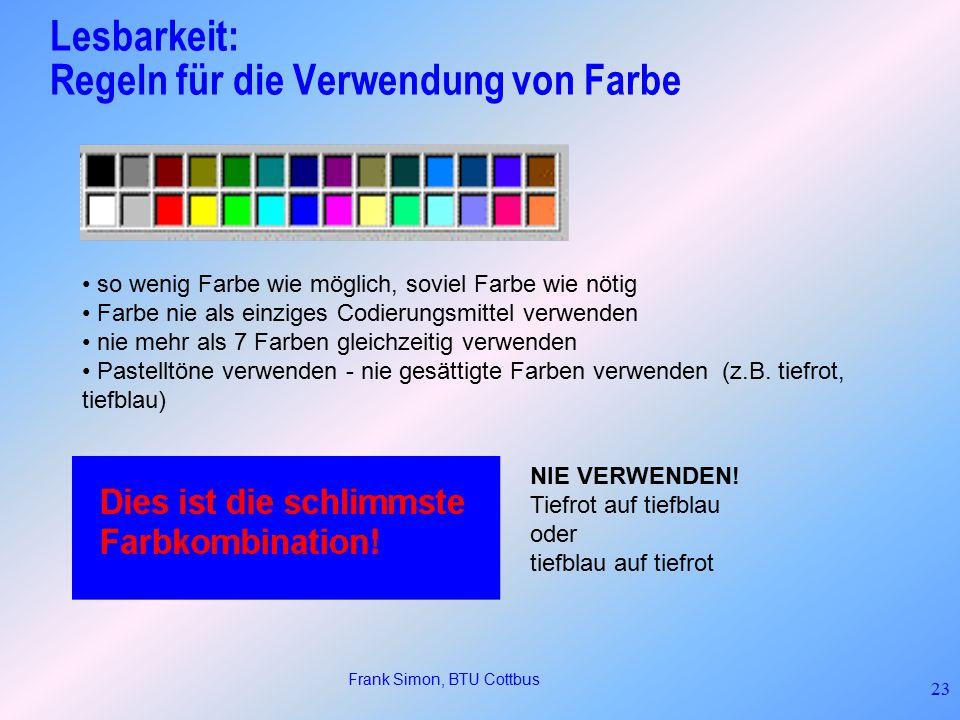 Lesbarkeit: Regeln für die Verwendung von Farbe