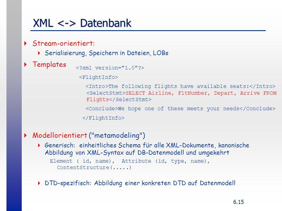 XML <-> Datenbank