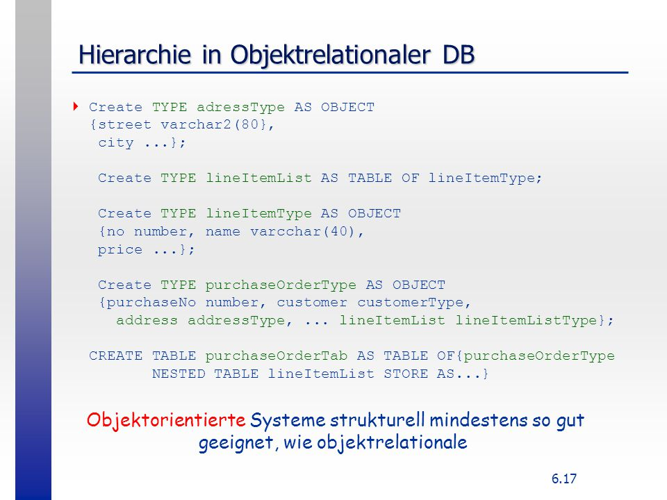 Hierarchie in Objektrelationaler DB
