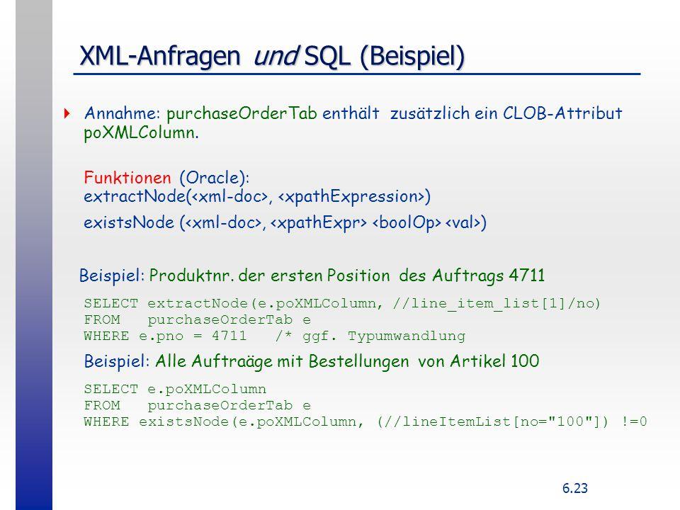 XML-Anfragen und SQL (Beispiel)