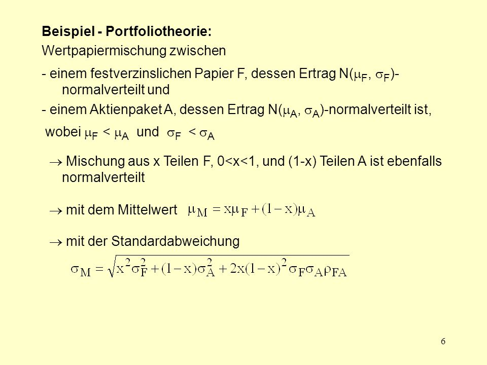 Beispiel - Portfoliotheorie: Wertpapiermischung zwischen