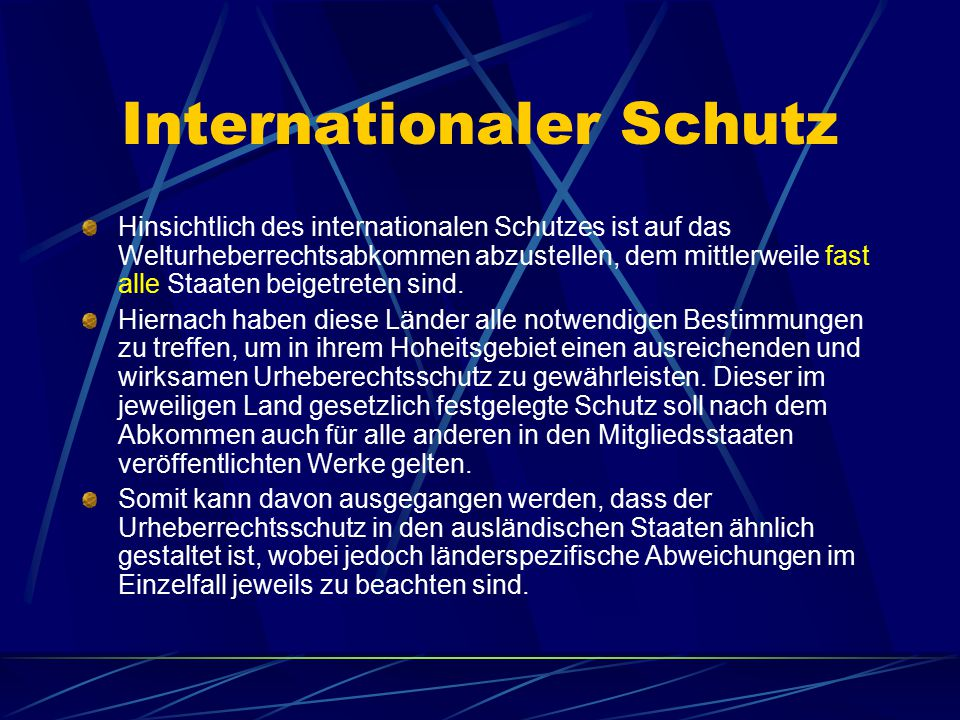 Internationaler Schutz