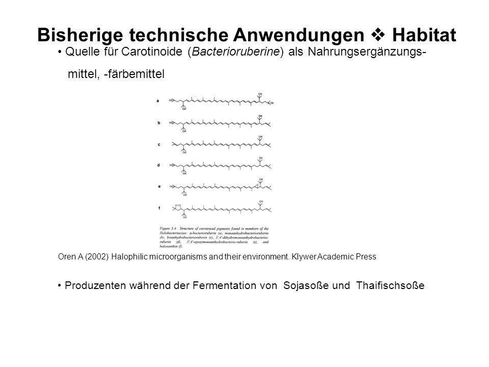 Bisherige technische Anwendungen  Habitat