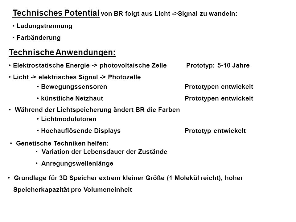 Technisches Potential von BR folgt aus Licht ->Signal zu wandeln: