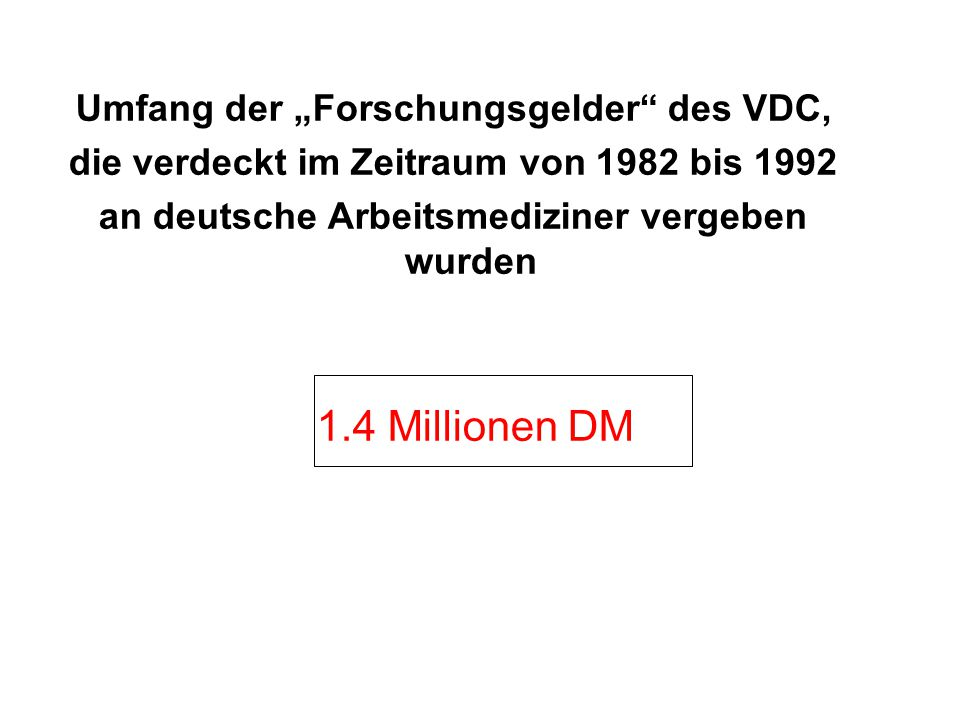 """1.4 Millionen DM Umfang der """"Forschungsgelder des VDC,"""