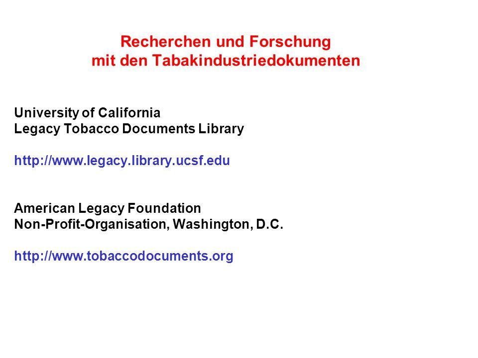Recherchen und Forschung mit den Tabakindustriedokumenten