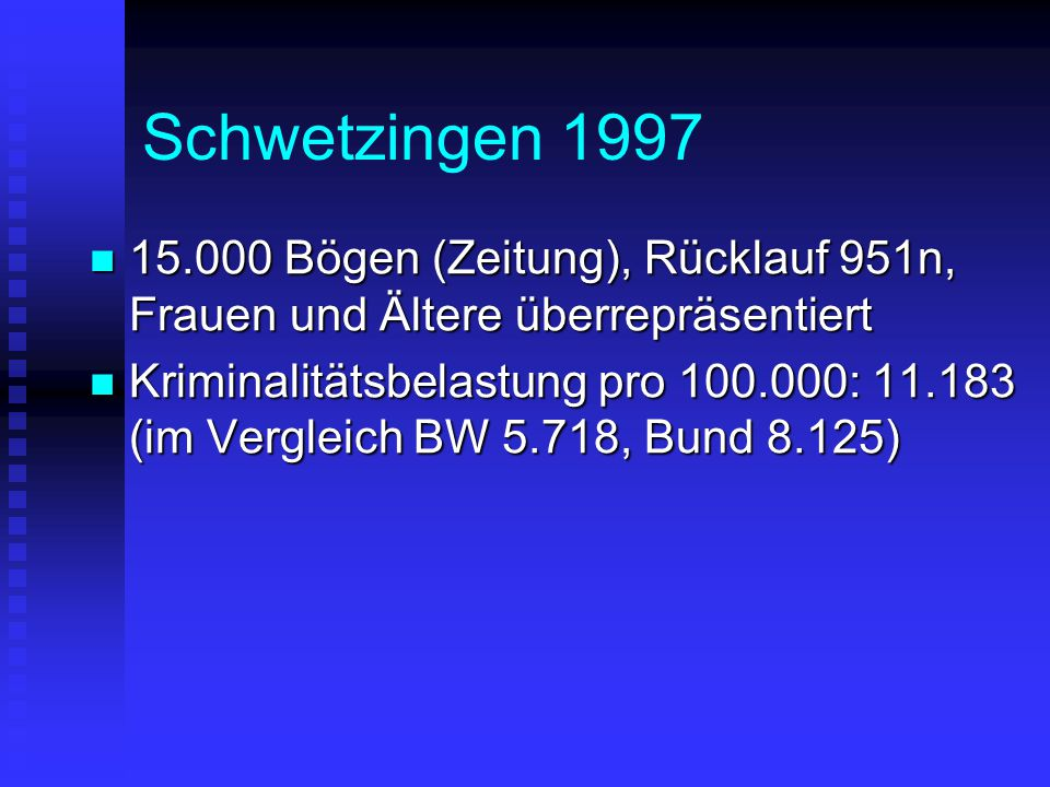 Schwetzingen 1997 15.000 Bögen (Zeitung), Rücklauf 951n, Frauen und Ältere überrepräsentiert.