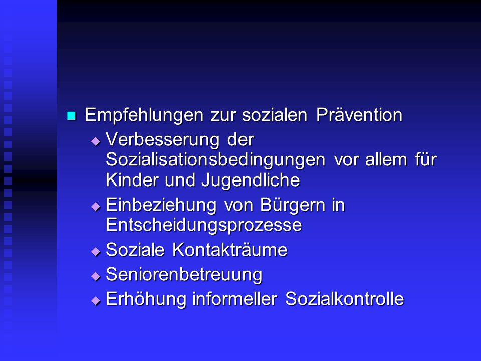 Empfehlungen zur sozialen Prävention