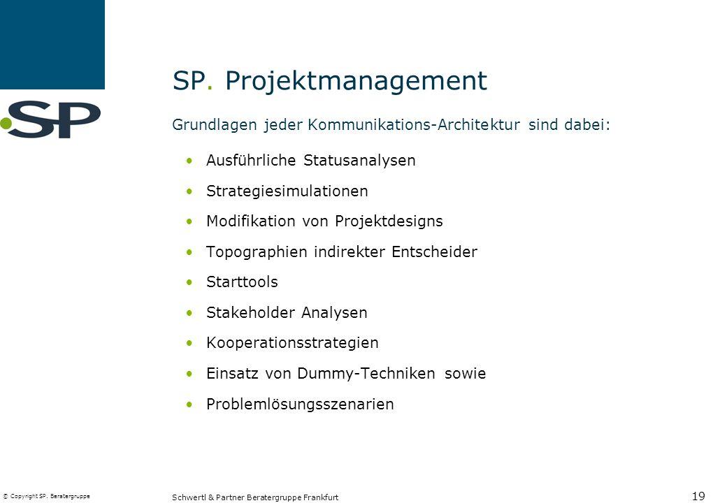 SP. Projektmanagement Grundlagen jeder Kommunikations-Architektur sind dabei: Ausführliche Statusanalysen.