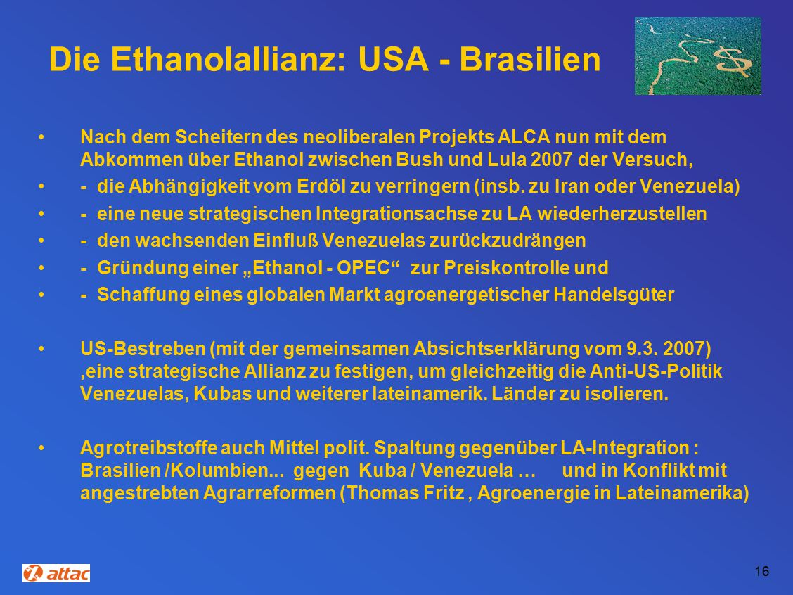 Die Ethanolallianz: USA - Brasilien