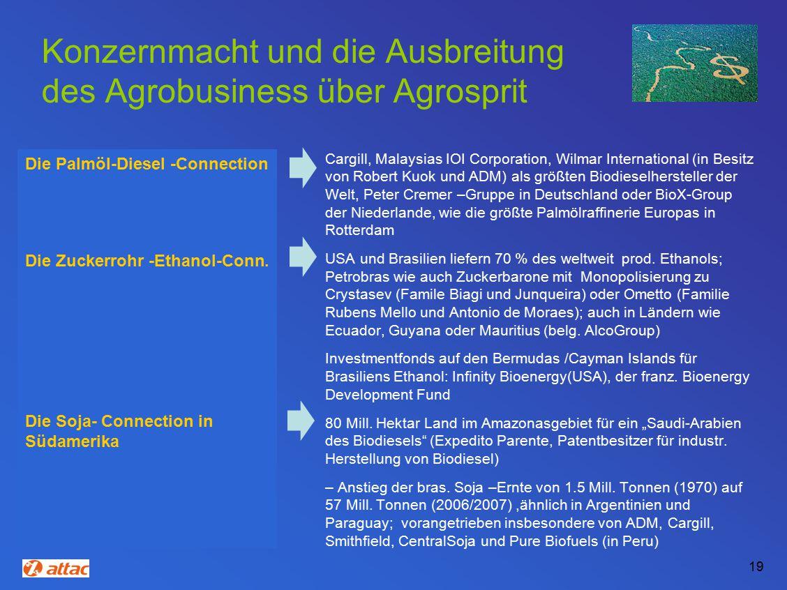 Konzernmacht und die Ausbreitung des Agrobusiness über Agrosprit