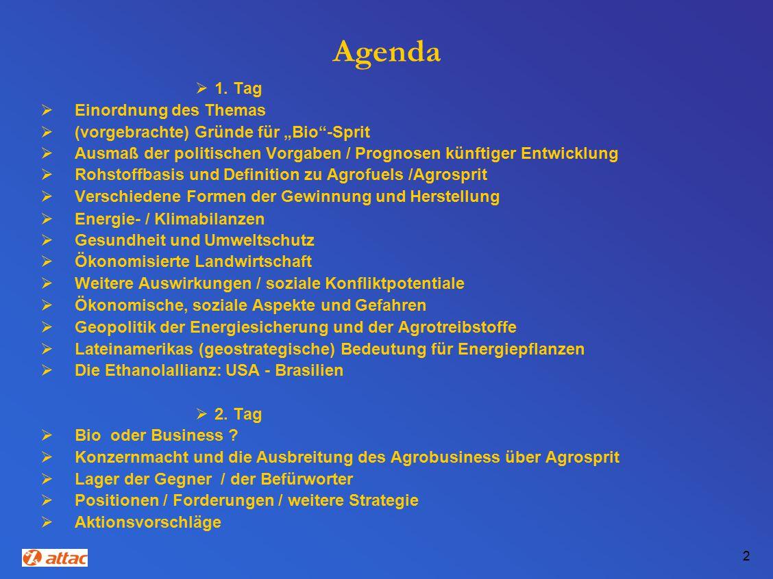 Agenda 1. Tag Einordnung des Themas