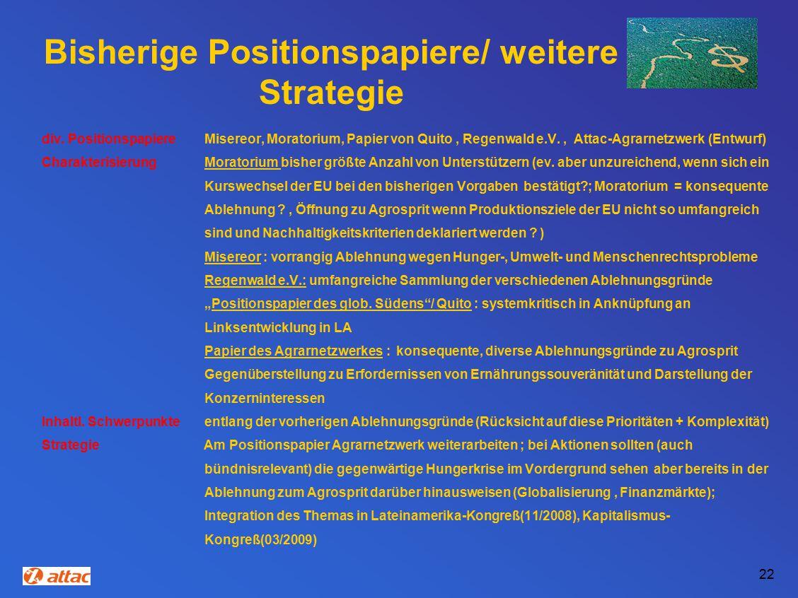 Bisherige Positionspapiere/ weitere Strategie