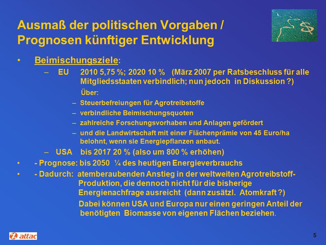 Ausmaß der politischen Vorgaben / Prognosen künftiger Entwicklung