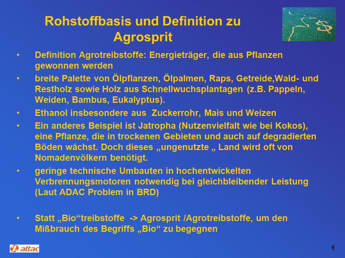 Rohstoffbasis und Definition zu Agrosprit