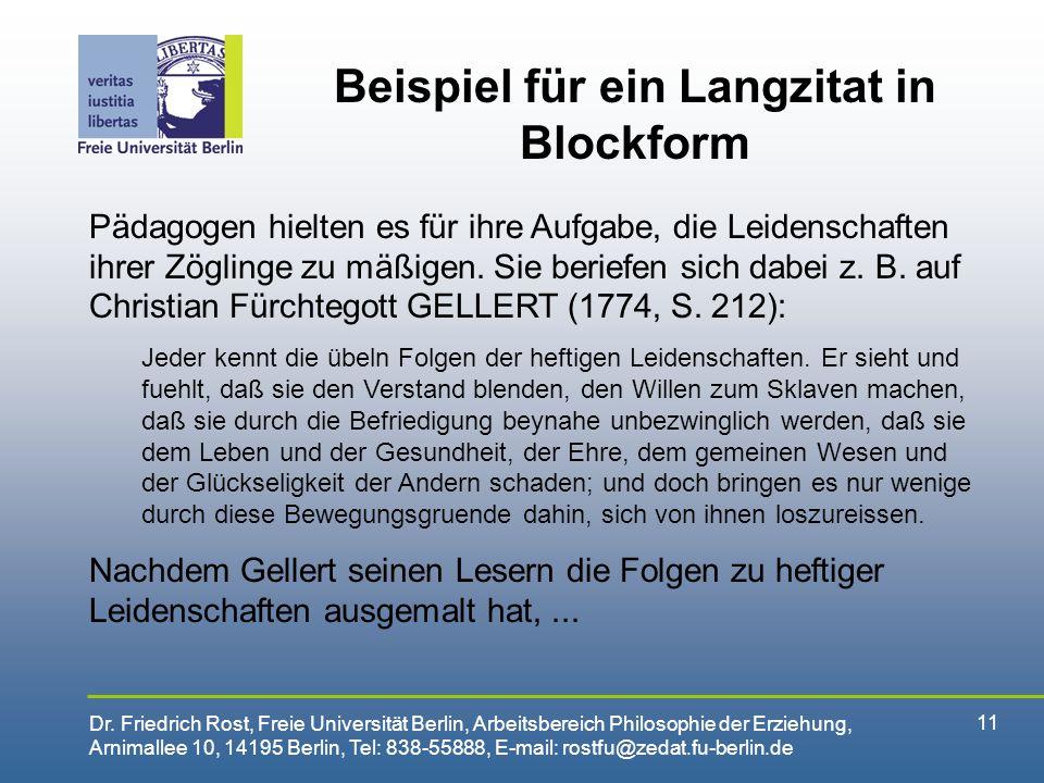 Beispiel für ein Langzitat in Blockform