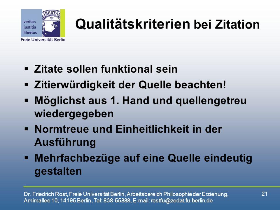 Qualitätskriterien bei Zitation