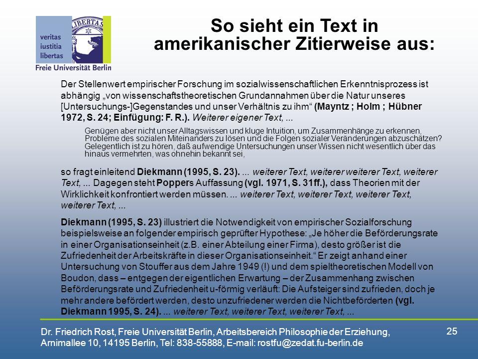 So sieht ein Text in amerikanischer Zitierweise aus: