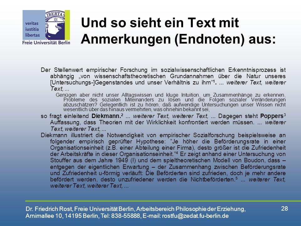 Und so sieht ein Text mit Anmerkungen (Endnoten) aus: