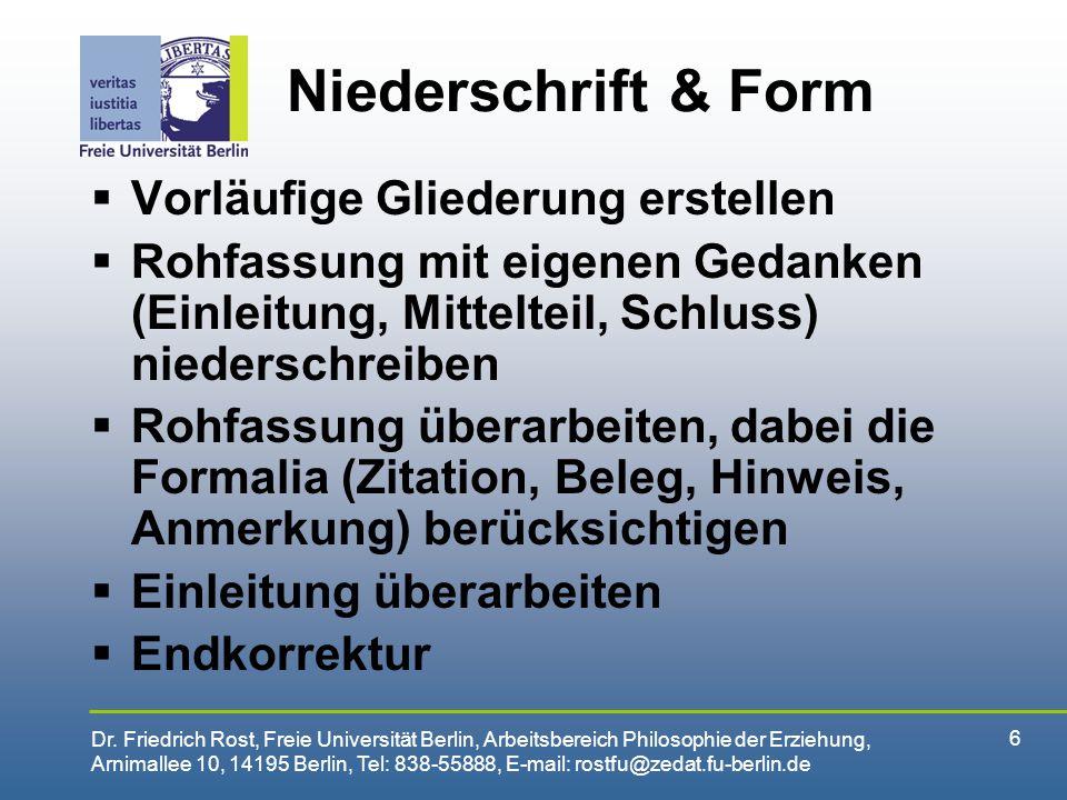 Niederschrift & Form Vorläufige Gliederung erstellen