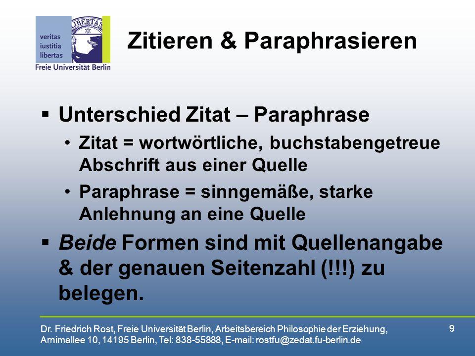 Zitieren & Paraphrasieren