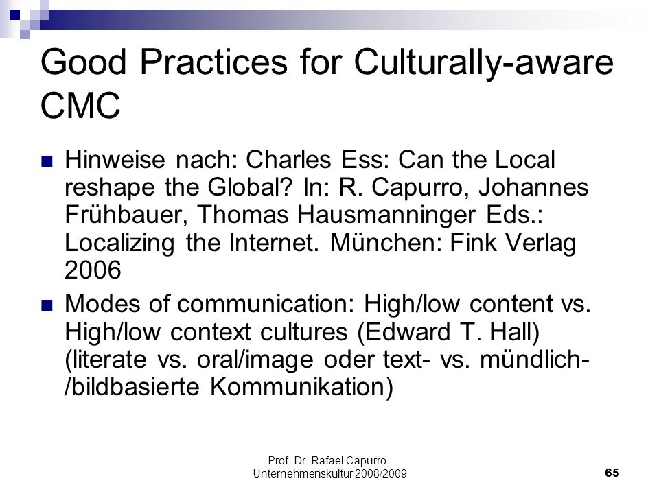 Good Practices for Culturally-aware CMC