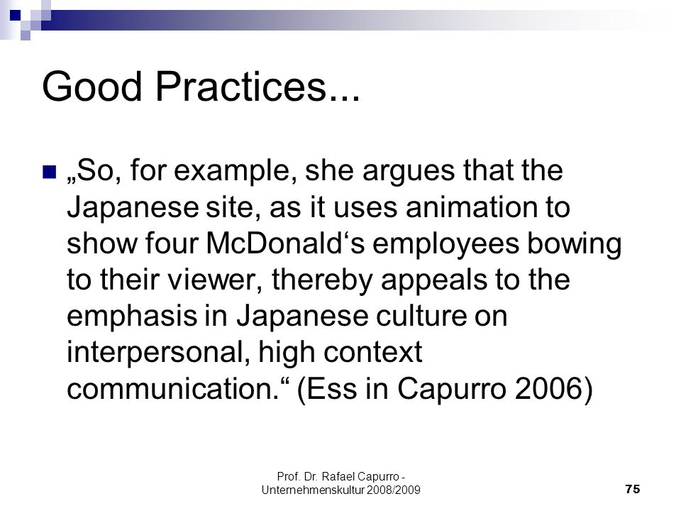 Prof. Dr. Rafael Capurro - Unternehmenskultur 2008/2009
