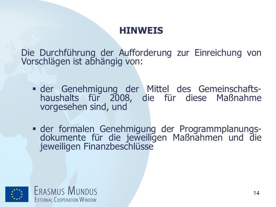 HINWEIS Die Durchführung der Aufforderung zur Einreichung von Vorschlägen ist abhängig von: