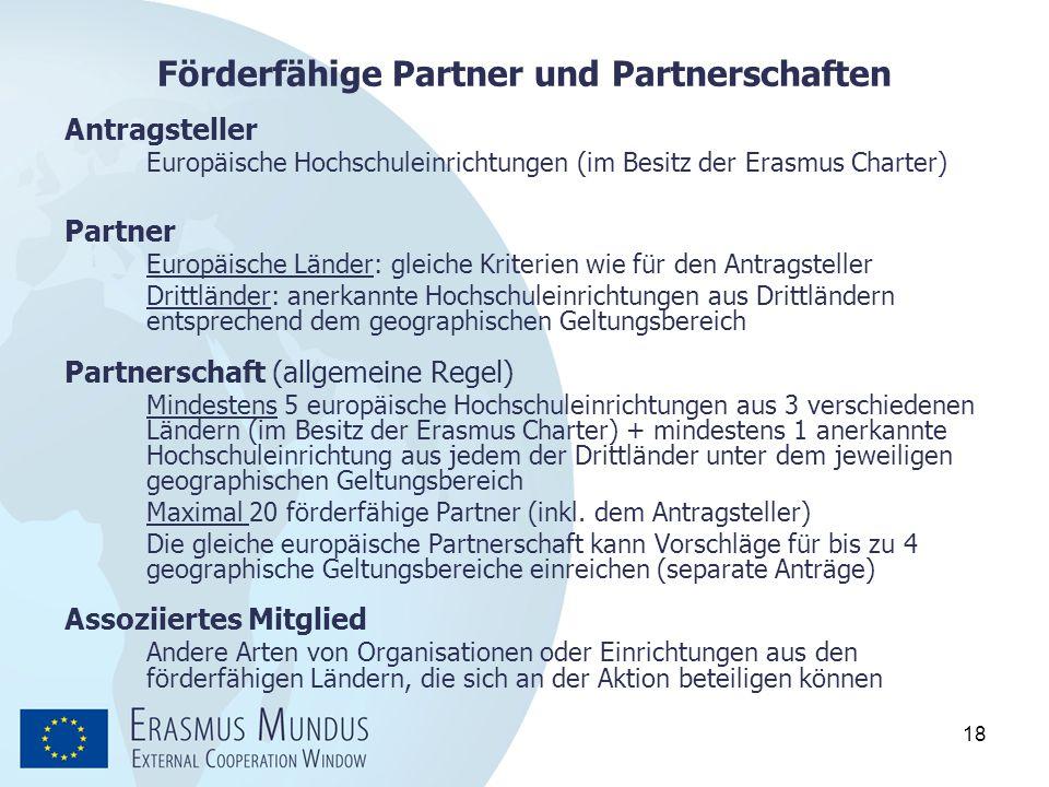 Förderfähige Partner und Partnerschaften