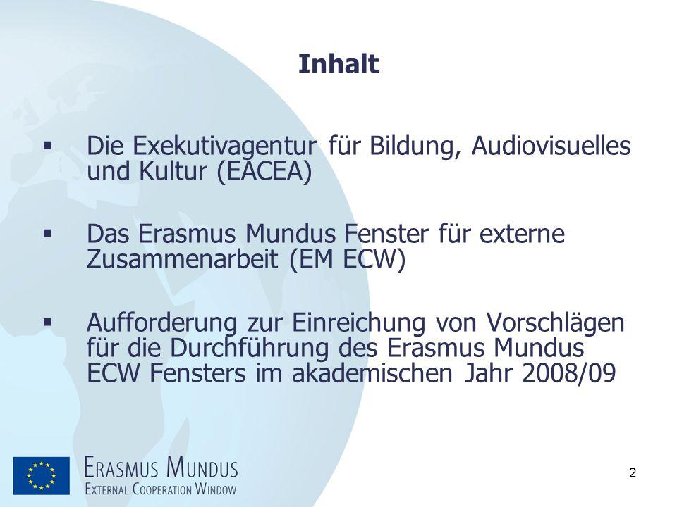 Inhalt Die Exekutivagentur für Bildung, Audiovisuelles und Kultur (EACEA) Das Erasmus Mundus Fenster für externe Zusammenarbeit (EM ECW)