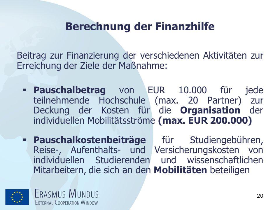 Berechnung der Finanzhilfe