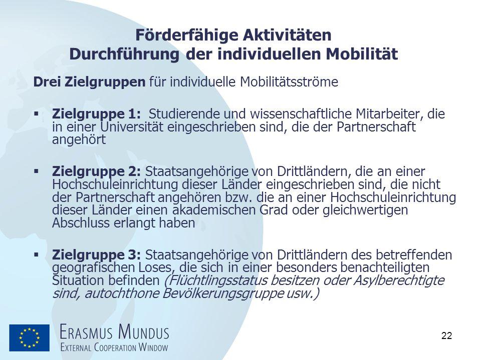 Förderfähige Aktivitäten Durchführung der individuellen Mobilität